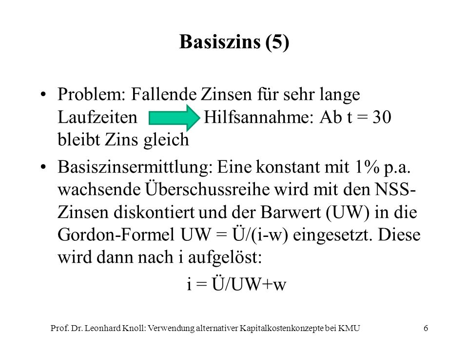 Basiszins (5) Prof. Dr. Leonhard Knoll: Verwendung alternativer Kapitalkostenkonzepte bei KMU6 Problem: Fallende Zinsen für sehr lange Laufzeiten Hilf