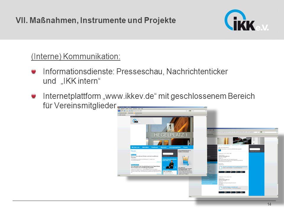"""VII. Maßnahmen, Instrumente und Projekte (Interne) Kommunikation: Informationsdienste: Presseschau, Nachrichtenticker und """"IKK intern"""" Internetplattfo"""