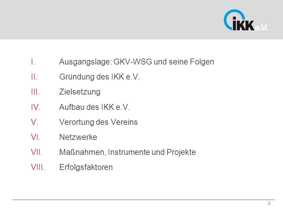 2 I. Ausgangslage: GKV-WSG und seine Folgen II. Gründung des IKK e.V.