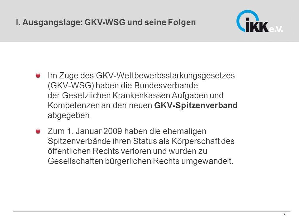 Im Zuge des GKV-Wettbewerbsstärkungsgesetzes (GKV-WSG) haben die Bundesverbände der Gesetzlichen Krankenkassen Aufgaben und Kompetenzen an den neuen GKV-Spitzenverband abgegeben.