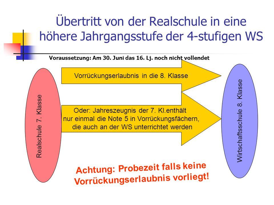 Übertritt von der Realschule in eine höhere Jahrgangsstufe der 4-stufigen WS (Fortsetzung) Realschule 8.