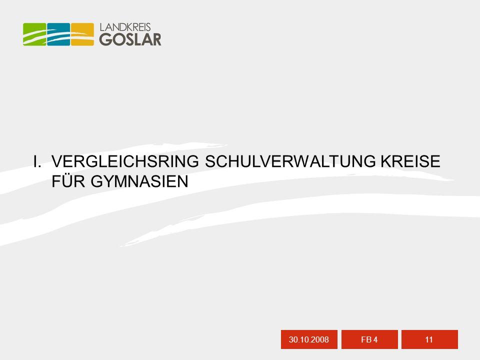 I. VERGLEICHSRING SCHULVERWALTUNG KREISE FÜR GYMNASIEN 30.10.200811 FB 4