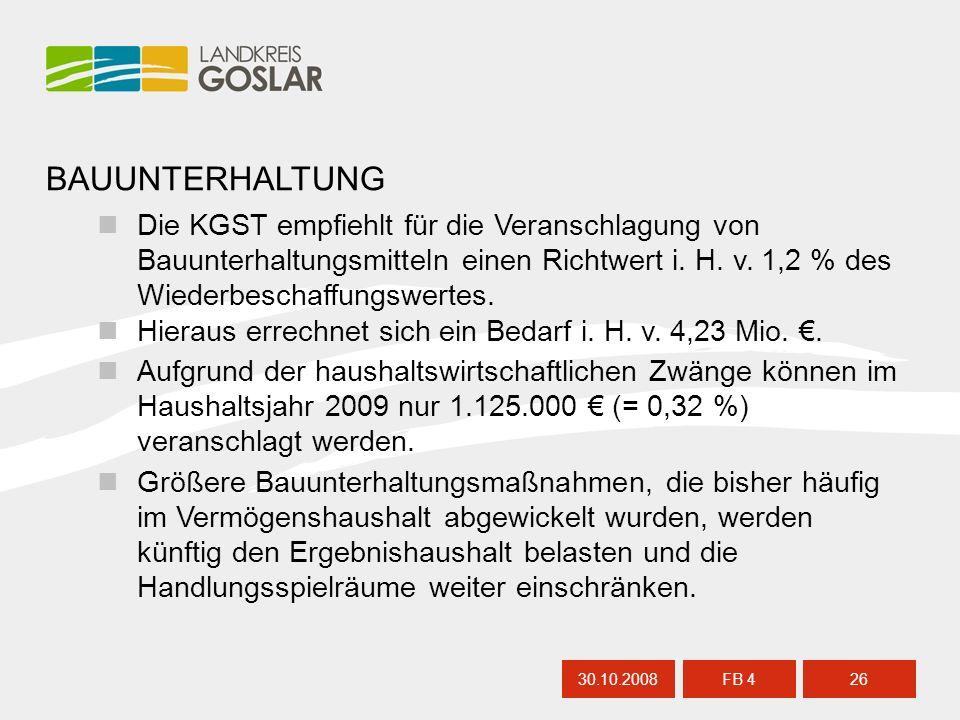BAUUNTERHALTUNG 30.10.200826 FB 4 Die KGST empfiehlt für die Veranschlagung von Bauunterhaltungsmitteln einen Richtwert i. H. v. 1,2 % des Wiederbesch