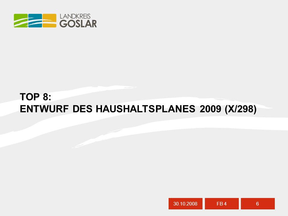 30.10.20087 FB 4 HAUSHALT 2009 – ALLGEMEINE INFORMATIONEN Landkreis Goslar – Teilhaushalt 4 – konsumtive Budgets Schulbudgets (S.