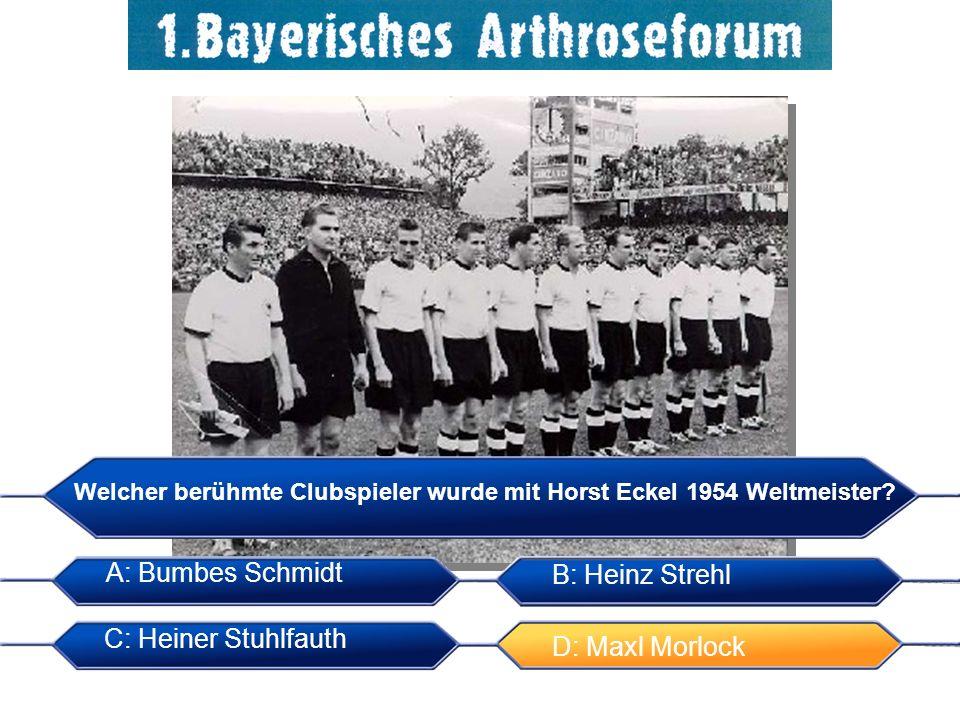 Welcher berühmte Clubspieler wurde mit Horst Eckel 1954 Weltmeister? A: Bumbes Schmidt B: Heinz Strehl C: Heiner Stuhlfauth D: Maxl Morlock