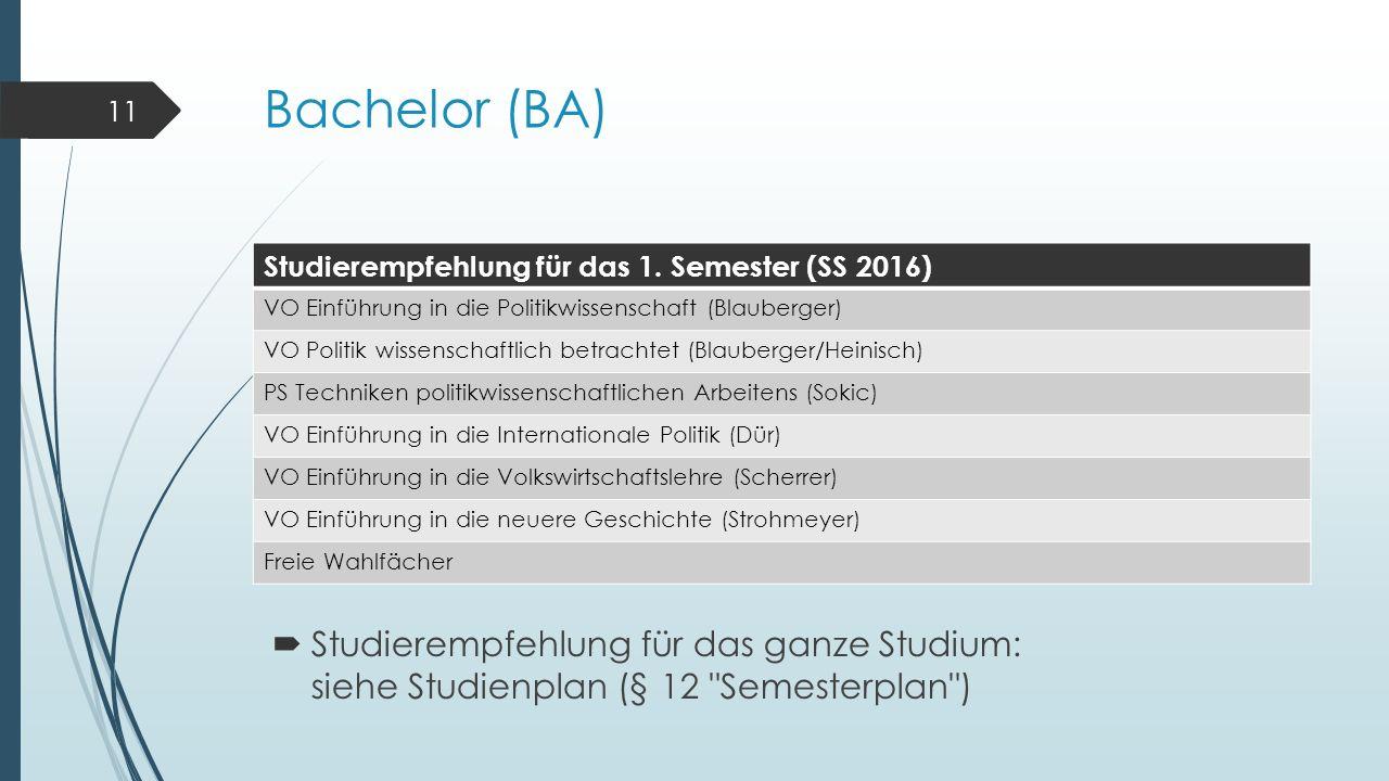 Bachelor (BA) Studierempfehlung für das 1.