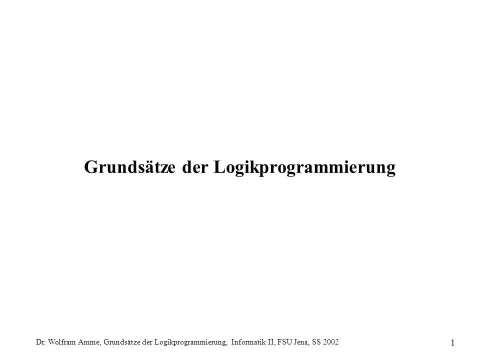 Dr. Wolfram Amme, Grundsätze der Logikprogrammierung, Informatik II, FSU Jena, SS 2002 1 Grundsätze der Logikprogrammierung