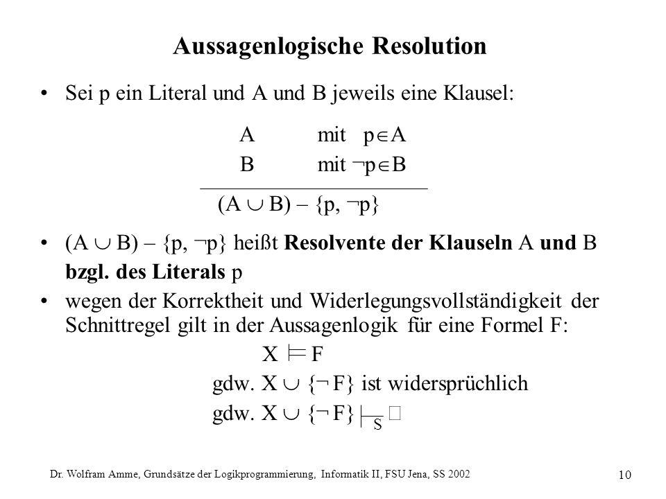 Dr. Wolfram Amme, Grundsätze der Logikprogrammierung, Informatik II, FSU Jena, SS 2002 10 Aussagenlogische Resolution Sei p ein Literal und A und B je