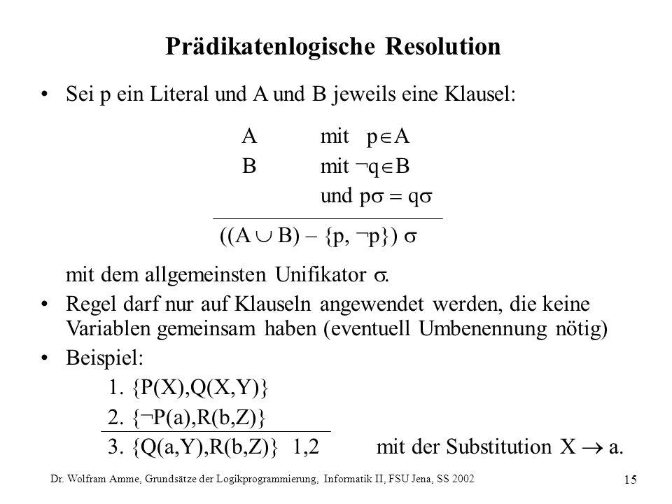 Dr. Wolfram Amme, Grundsätze der Logikprogrammierung, Informatik II, FSU Jena, SS 2002 15 Prädikatenlogische Resolution Sei p ein Literal und A und B