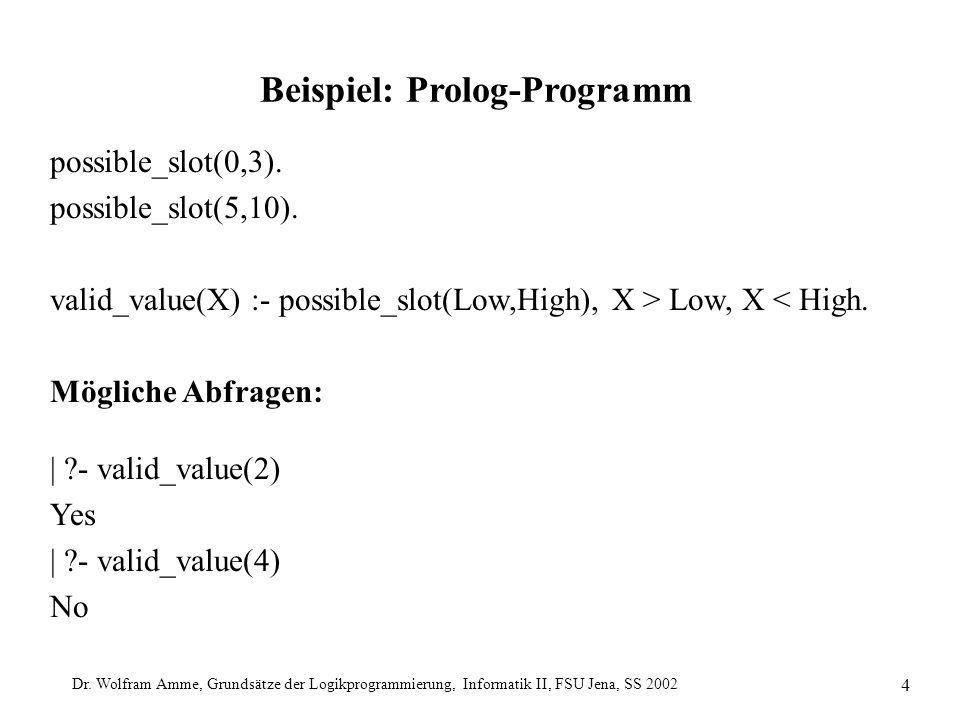 Dr. Wolfram Amme, Grundsätze der Logikprogrammierung, Informatik II, FSU Jena, SS 2002 4 Beispiel: Prolog-Programm possible_slot(0,3). possible_slot(5