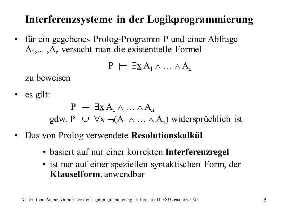 Dr. Wolfram Amme, Grundsätze der Logikprogrammierung, Informatik II, FSU Jena, SS 2002 5 Interferenzsysteme in der Logikprogrammierung für ein gegeben
