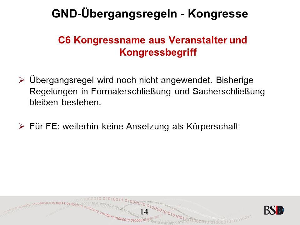 14 GND-Übergangsregeln - Kongresse C6 Kongressname aus Veranstalter und Kongressbegriff  Übergangsregel wird noch nicht angewendet.