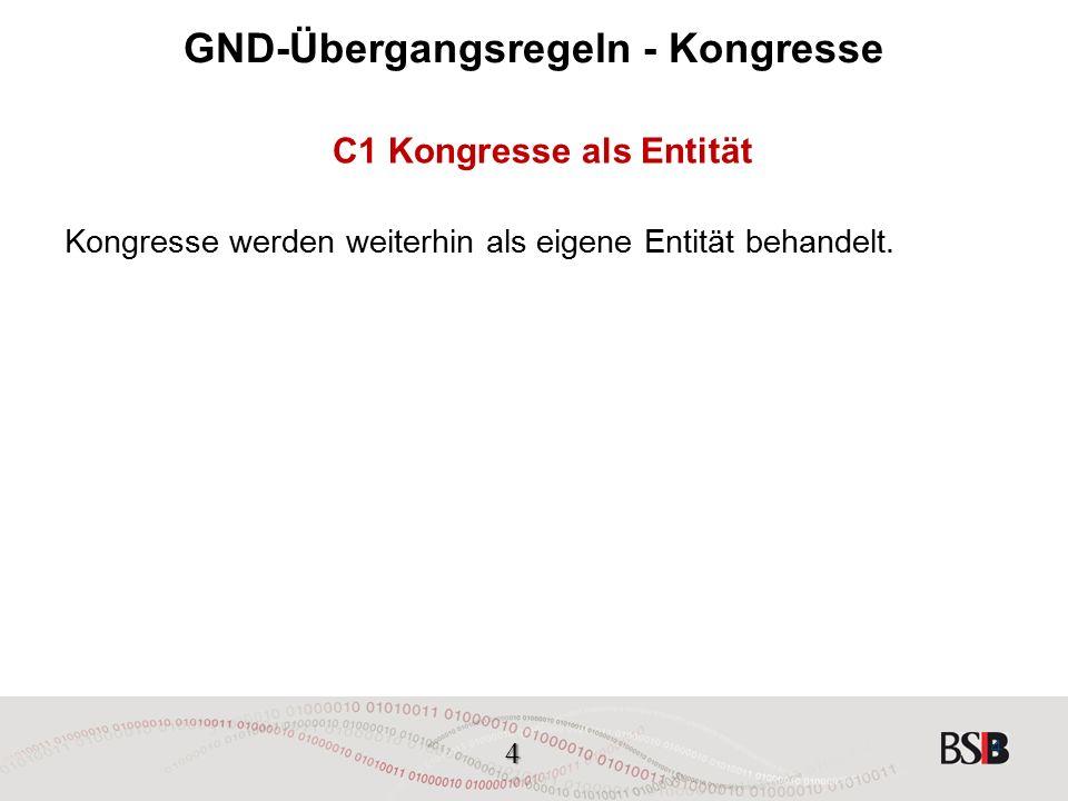 4 GND-Übergangsregeln - Kongresse C1 Kongresse als Entität Kongresse werden weiterhin als eigene Entität behandelt.