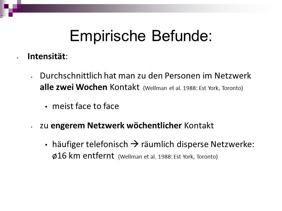 Empirische Befunde: Intensität: Durchschnittlich hat man zu den Personen im Netzwerk alle zwei Wochen Kontakt (Wellman et al.