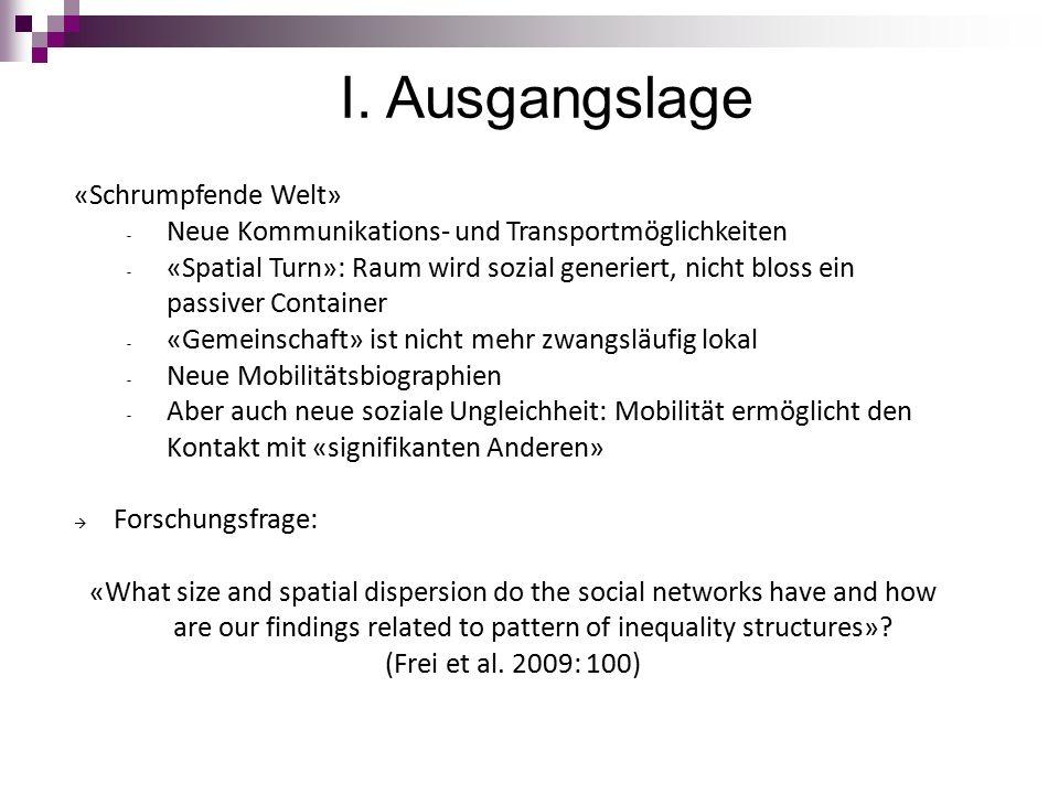 I. Ausgangslage «Schrumpfende Welt» - Neue Kommunikations- und Transportmöglichkeiten - «Spatial Turn»: Raum wird sozial generiert, nicht bloss ein pa
