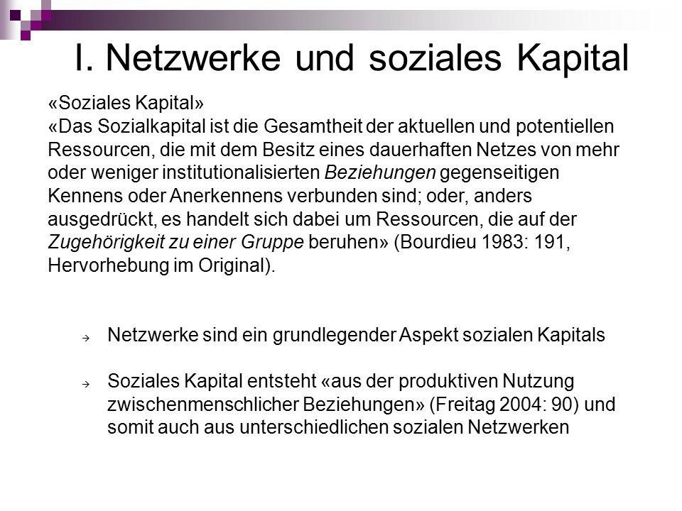 I. Netzwerke und soziales Kapital «Soziales Kapital» «Das Sozialkapital ist die Gesamtheit der aktuellen und potentiellen Ressourcen, die mit dem Besi