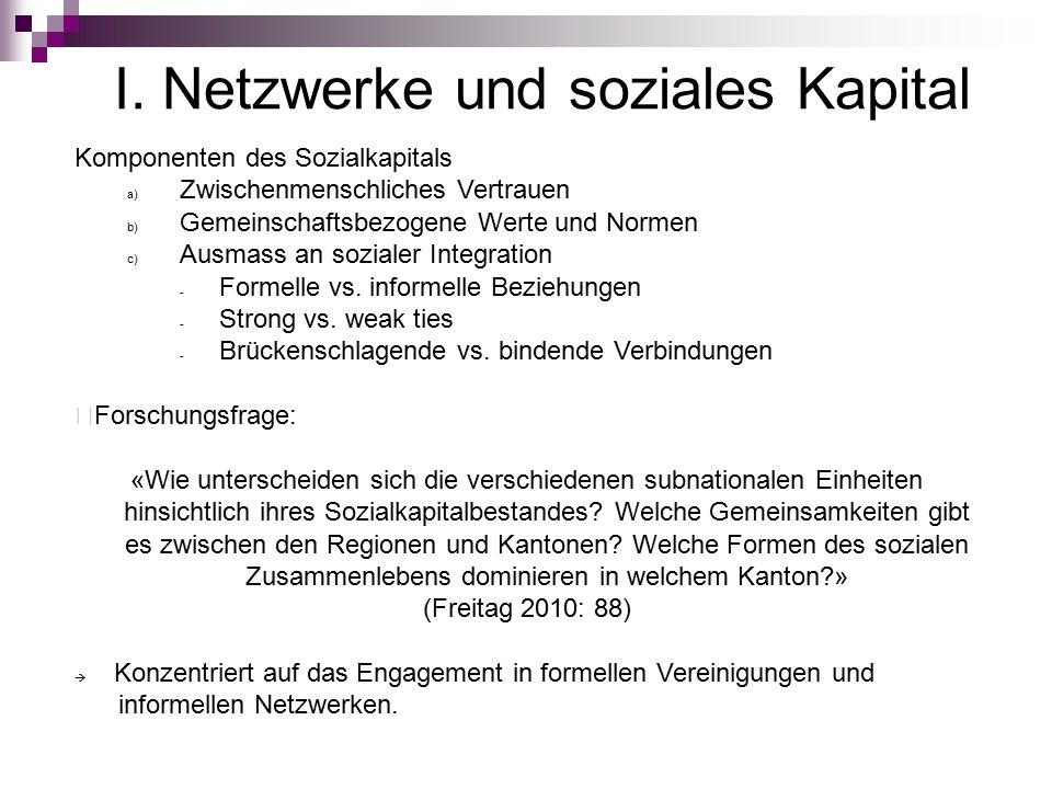 I. Netzwerke und soziales Kapital Komponenten des Sozialkapitals a) Zwischenmenschliches Vertrauen b) Gemeinschaftsbezogene Werte und Normen c) Ausmas