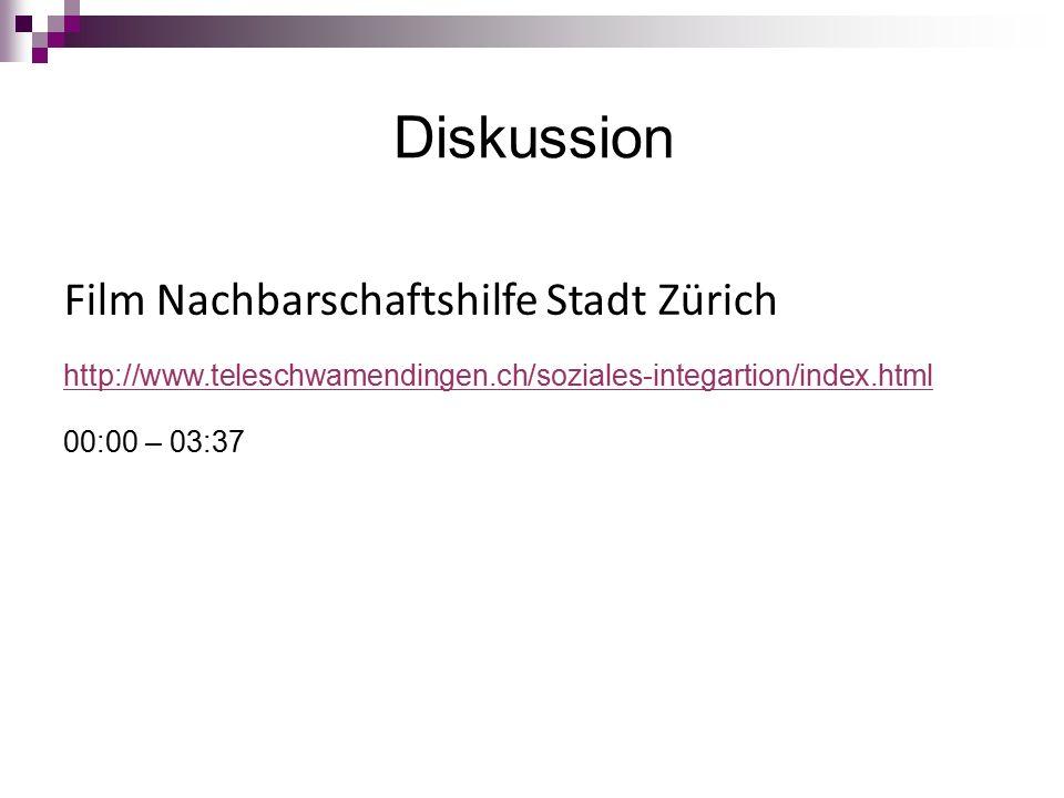 Diskussion Film Nachbarschaftshilfe Stadt Zürich http://www.teleschwamendingen.ch/soziales-integartion/index.html 00:00 – 03:37