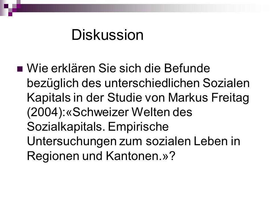 Diskussion Wie erklären Sie sich die Befunde bezüglich des unterschiedlichen Sozialen Kapitals in der Studie von Markus Freitag (2004):«Schweizer Welten des Sozialkapitals.