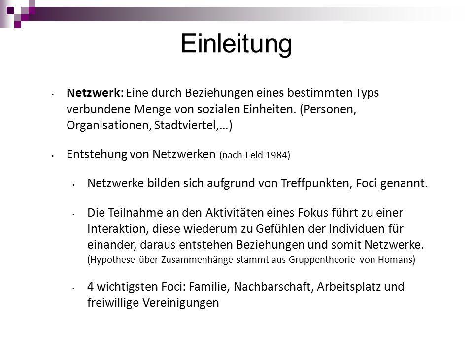 Einleitung Netzwerk: Eine durch Beziehungen eines bestimmten Typs verbundene Menge von sozialen Einheiten.