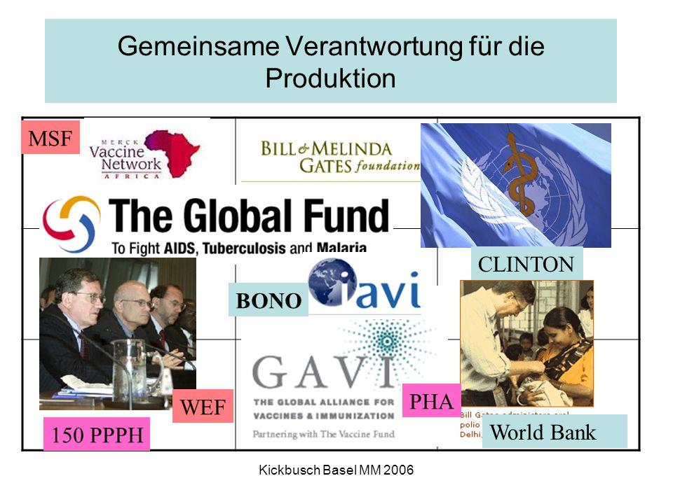 Kickbusch Basel MM 2006 Gemeinsame Verantwortung für die Produktion BONO CLINTON MSF 150 PPPH WEF PHA World Bank