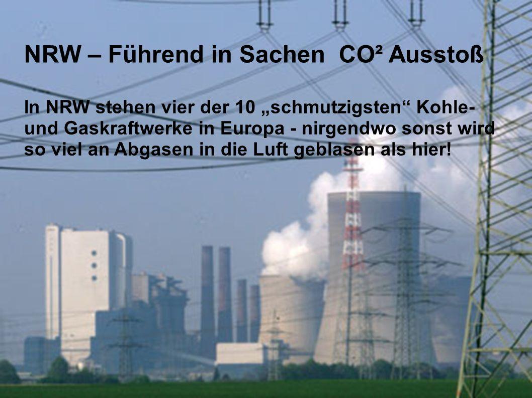 """In NRW stehen vier der 10 """"schmutzigsten Kohle- und Gaskraftwerke in Europa - nirgendwo sonst wird so viel an Abgasen in die Luft geblasen als hier."""