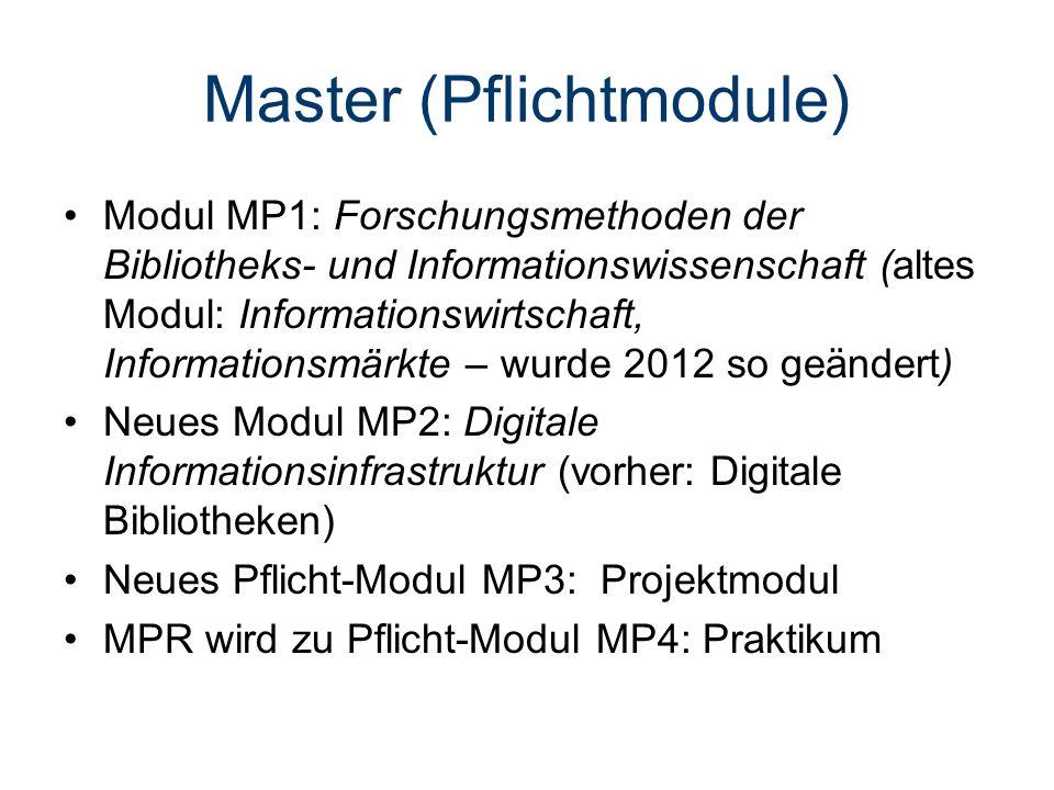 Master (Pflichtmodule) Modul MP1: Forschungsmethoden der Bibliotheks- und Informationswissenschaft (altes Modul: Informationswirtschaft, Informationsmärkte – wurde 2012 so geändert) Neues Modul MP2: Digitale Informationsinfrastruktur (vorher: Digitale Bibliotheken) Neues Pflicht-Modul MP3: Projektmodul MPR wird zu Pflicht-Modul MP4: Praktikum