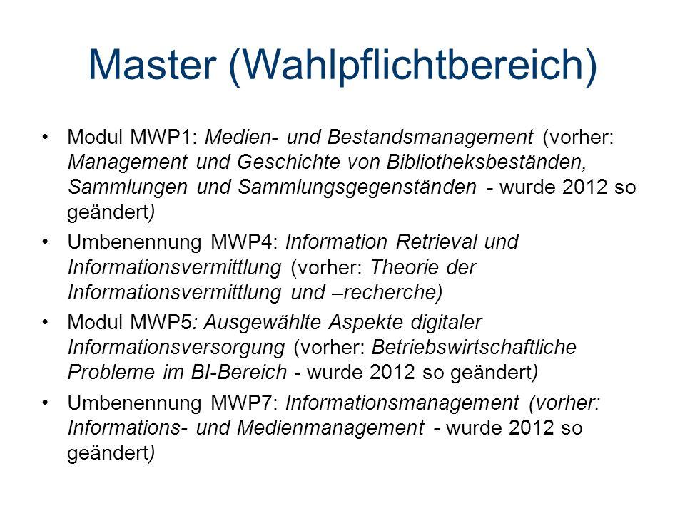 Master (Wahlpflichtbereich) Modul MWP1: Medien- und Bestandsmanagement (vorher: Management und Geschichte von Bibliotheksbeständen, Sammlungen und Sammlungsgegenständen - wurde 2012 so geändert) Umbenennung MWP4: Information Retrieval und Informationsvermittlung (vorher: Theorie der Informationsvermittlung und –recherche) Modul MWP5: Ausgewählte Aspekte digitaler Informationsversorgung (vorher: Betriebswirtschaftliche Probleme im BI-Bereich - wurde 2012 so geändert) Umbenennung MWP7: Informationsmanagement (vorher: Informations- und Medienmanagement - wurde 2012 so geändert)