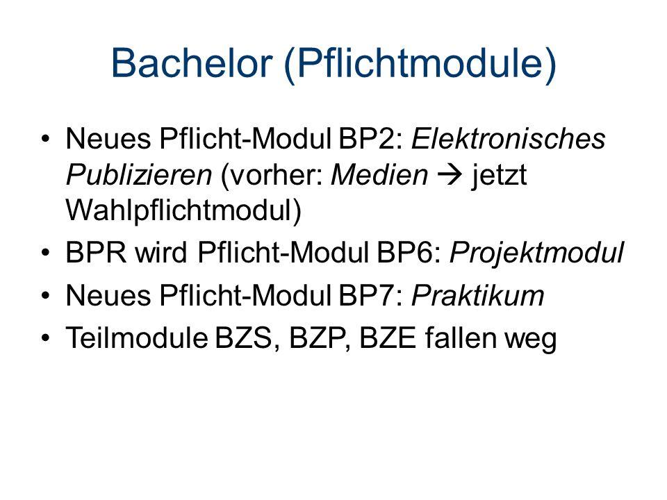 Bachelor (Pflichtmodule) Neues Pflicht-Modul BP2: Elektronisches Publizieren (vorher: Medien  jetzt Wahlpflichtmodul) BPR wird Pflicht-Modul BP6: Projektmodul Neues Pflicht-Modul BP7: Praktikum Teilmodule BZS, BZP, BZE fallen weg