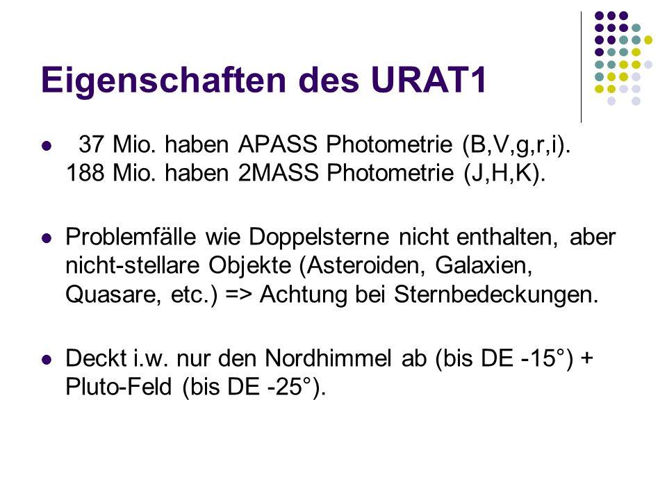 Eigenschaften des URAT1 37 Mio. haben APASS Photometrie (B,V,g,r,i). 188 Mio. haben 2MASS Photometrie (J,H,K). Problemfälle wie Doppelsterne nicht ent