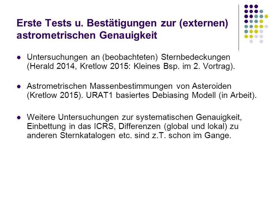 Erste Tests u. Bestätigungen zur (externen) astrometrischen Genauigkeit Untersuchungen an (beobachteten) Sternbedeckungen (Herald 2014, Kretlow 2015: