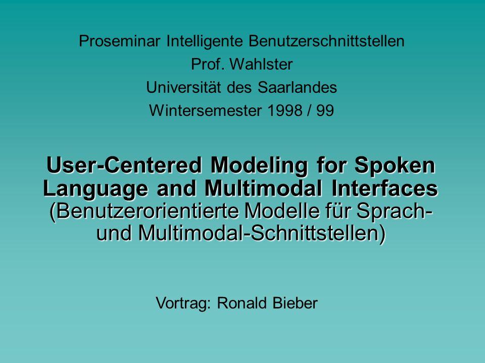 """WS 1998/99, Proseminar Intelligente Benutzerschnittstellen Einführung """"Durch Modellierung schwieriger Quellen linguistischer Variabilität in Dialogen und Sprache können wir Schnittstellen ent- wickeln, die menschliche Eingaben trans- parent lenken um sie den Verarbeitungs- fähigkeiten eines Systems anzupassen."""