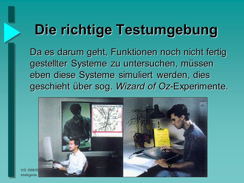 WS 1998/99, Proseminar Intelligente Benutzerschnittstellen Die richtige Testumgebung Da es darum geht, Funktionen noch nicht fertig gestellter Systeme zu untersuchen, müssen eben diese Systeme simuliert werden, dies geschieht über sog.