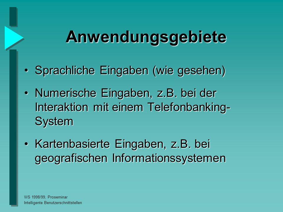 WS 1998/99, Proseminar Intelligente Benutzerschnittstellen Anwendungsgebiete Sprachliche Eingaben (wie gesehen)Sprachliche Eingaben (wie gesehen) Numerische Eingaben, z.B.