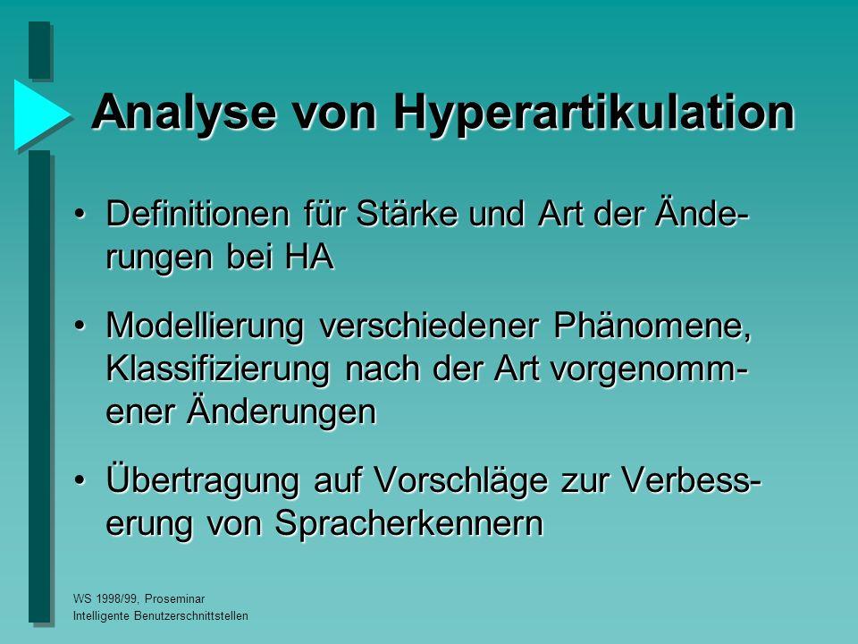 WS 1998/99, Proseminar Intelligente Benutzerschnittstellen Analyse von Hyperartikulation Definitionen für Stärke und Art der Ände- rungen bei HADefinitionen für Stärke und Art der Ände- rungen bei HA Modellierung verschiedener Phänomene, Klassifizierung nach der Art vorgenomm- ener ÄnderungenModellierung verschiedener Phänomene, Klassifizierung nach der Art vorgenomm- ener Änderungen Übertragung auf Vorschläge zur Verbess- erung von SpracherkennernÜbertragung auf Vorschläge zur Verbess- erung von Spracherkennern