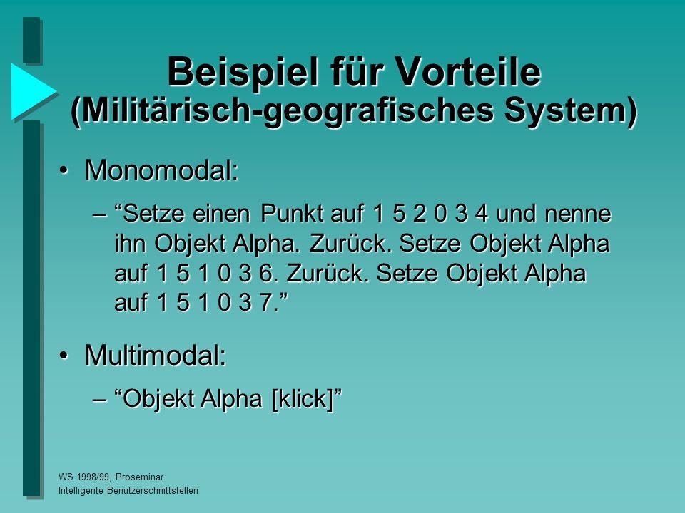 WS 1998/99, Proseminar Intelligente Benutzerschnittstellen Beispiel für Vorteile (Militärisch-geografisches System) Monomodal:Monomodal: – Setze einen Punkt auf 1 5 2 0 3 4 und nenne ihn Objekt Alpha.