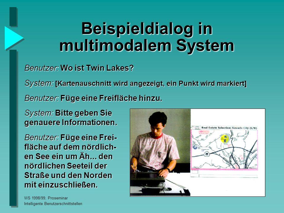 WS 1998/99, Proseminar Intelligente Benutzerschnittstellen Beispieldialog in multimodalem System Benutzer: Wo ist Twin Lakes.