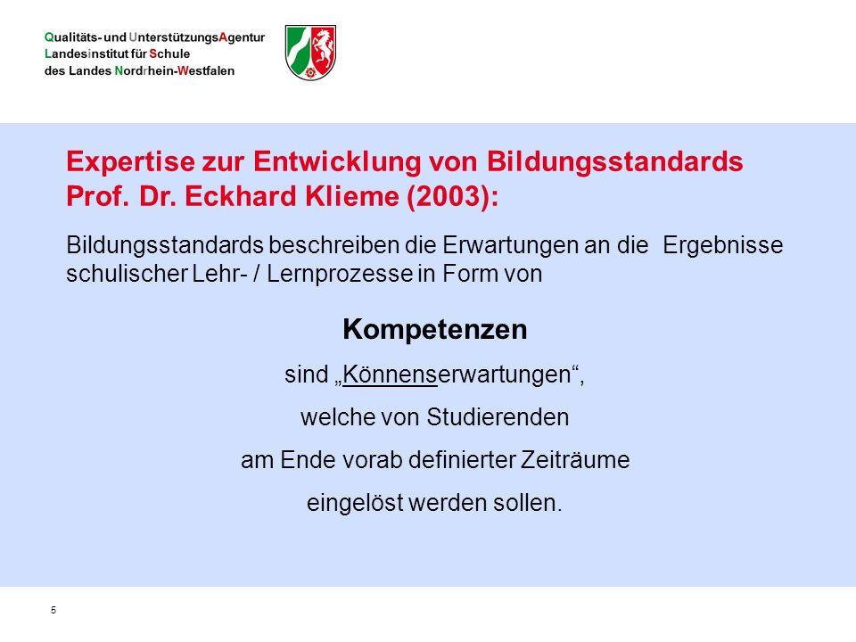 5 Expertise zur Entwicklung von Bildungsstandards Prof.