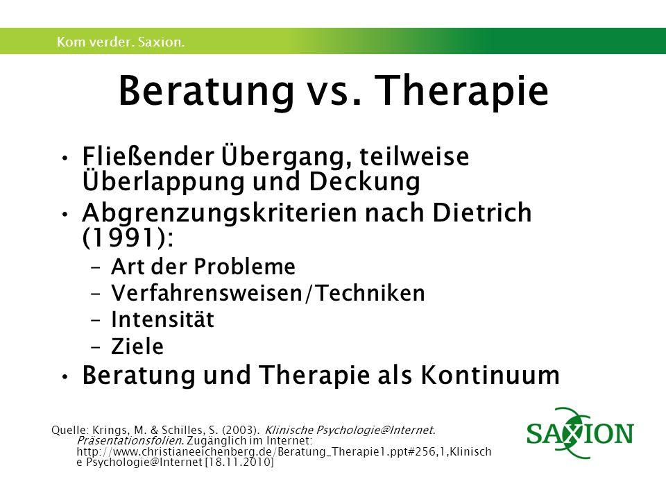 Kom verder. Saxion. Beratung vs. Therapie Fließender Übergang, teilweise Überlappung und Deckung Abgrenzungskriterien nach Dietrich (1991): –Art der P