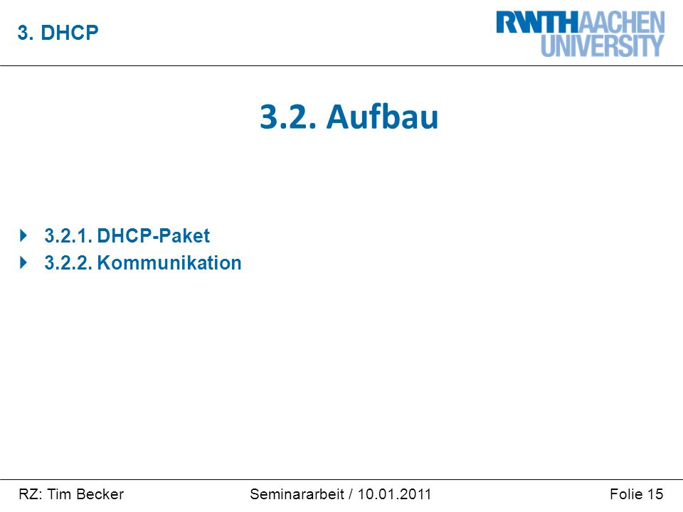 RZ: Tim BeckerFolie 15Seminararbeit / 10.01.2011  3.2.1. DHCP-Paket  3.2.2. Kommunikation 3. DHCP 3.2. Aufbau