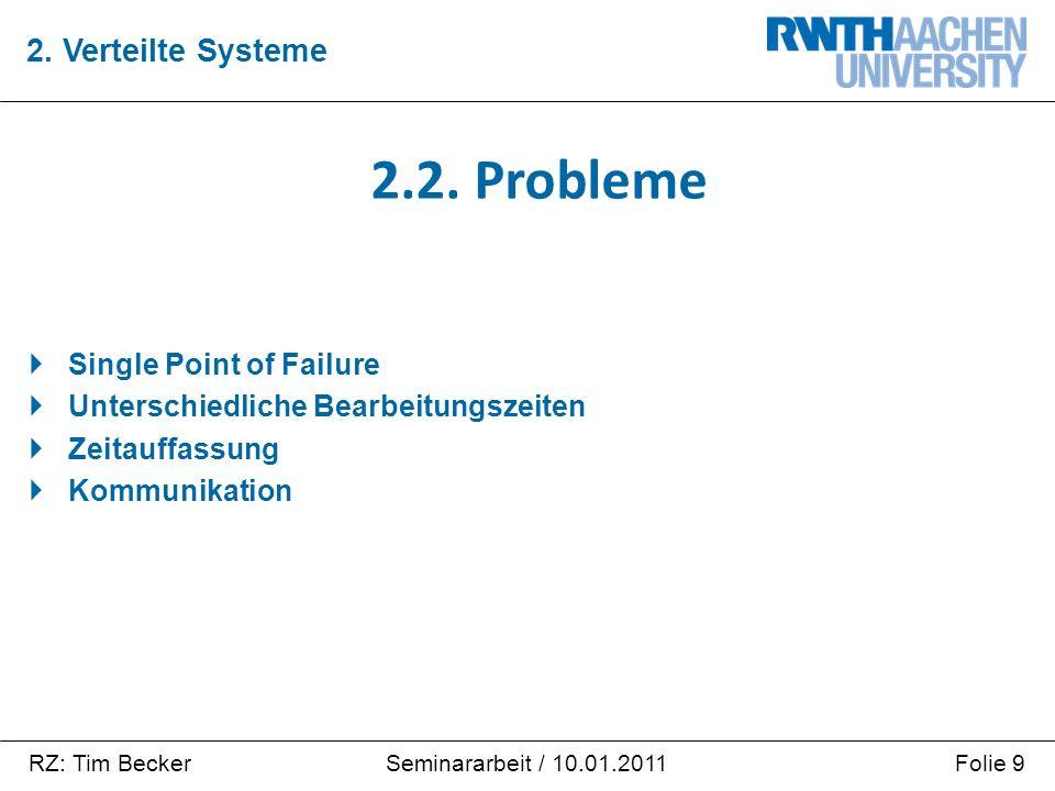 RZ: Tim BeckerFolie 9Seminararbeit / 10.01.2011  Single Point of Failure  Unterschiedliche Bearbeitungszeiten  Zeitauffassung  Kommunikation 2.