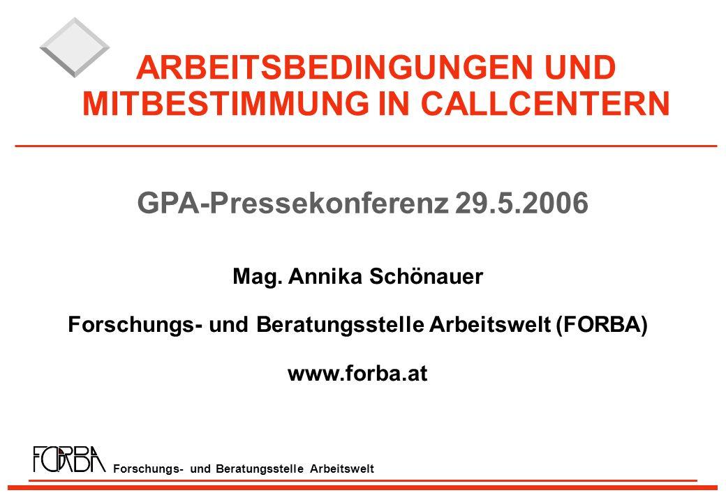 Forschungs- und Beratungsstelle Arbeitswelt ARBEITSBEDINGUNGEN UND MITBESTIMMUNG IN CALLCENTERN Mag.