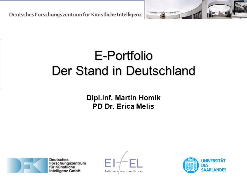 E-Portfolio Der Stand in Deutschland E-Portfolio Der Stand in Deutschland Dipl.Inf.