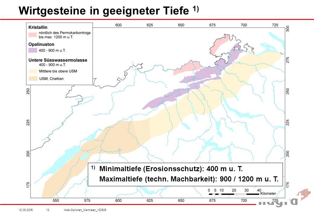 12.09.2005HAA-Optionen_Marthalen_12090513 Wirtgesteine in geeigneter Tiefe 1) 1) Minimaltiefe (Erosionsschutz): 400 m u.