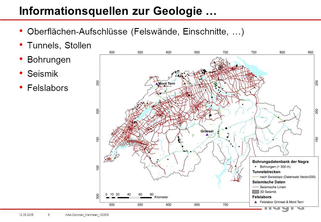 12.09.2005HAA-Optionen_Marthalen_1209056 Informationsquellen zur Geologie … Oberflächen-Aufschlüsse (Felswände, Einschnitte, …) Tunnels, Stollen Bohrungen Seismik Felslabors