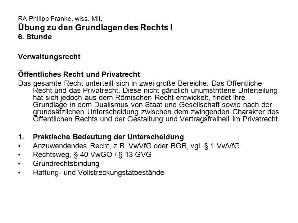 RA Philipp Franke, wiss. Mit. Übung zu den Grundlagen des Rechts I 6. Stunde Verwaltungsrecht Öffentliches Recht und Privatrecht Das gesamte Recht unt