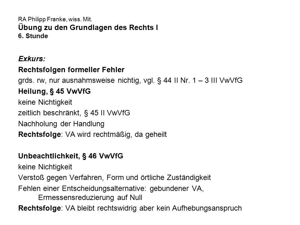 RA Philipp Franke, wiss. Mit. Übung zu den Grundlagen des Rechts I 6. Stunde Exkurs: Rechtsfolgen formeller Fehler grds. rw, nur ausnahmsweise nichtig