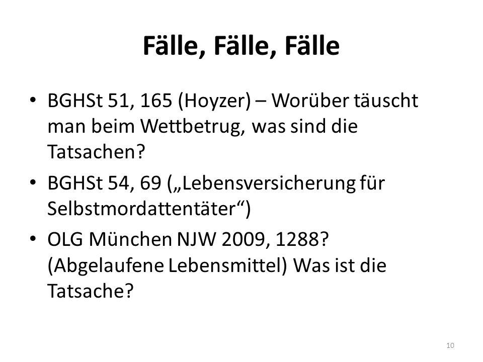 Fälle, Fälle, Fälle BGHSt 51, 165 (Hoyzer) – Worüber täuscht man beim Wettbetrug, was sind die Tatsachen.