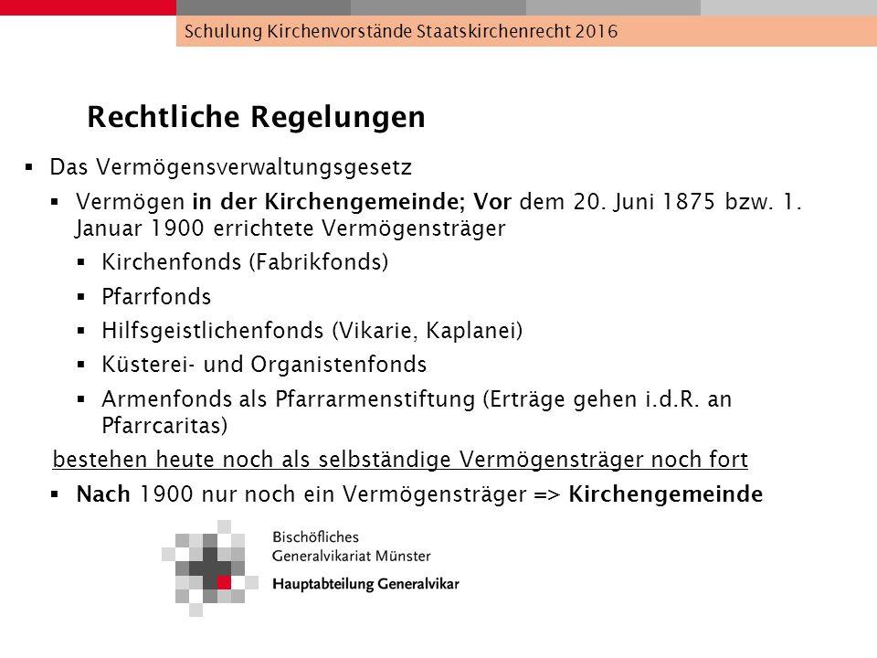 Rechtliche Regelungen  Das Vermögensverwaltungsgesetz  Vermögen in der Kirchengemeinde; Vor dem 20. Juni 1875 bzw. 1. Januar 1900 errichtete Vermöge
