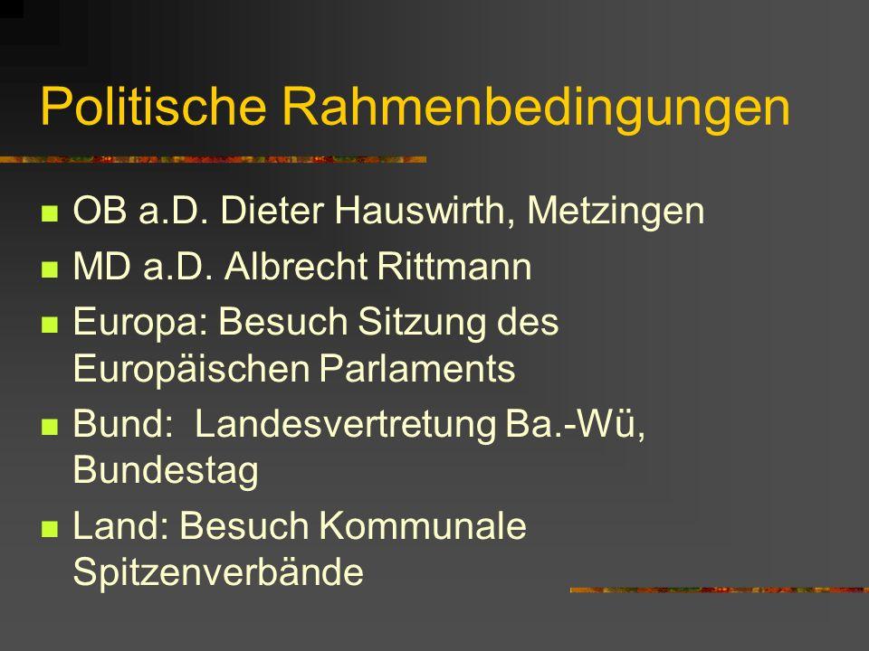 Politische Rahmenbedingungen OB a.D. Dieter Hauswirth, Metzingen MD a.D.